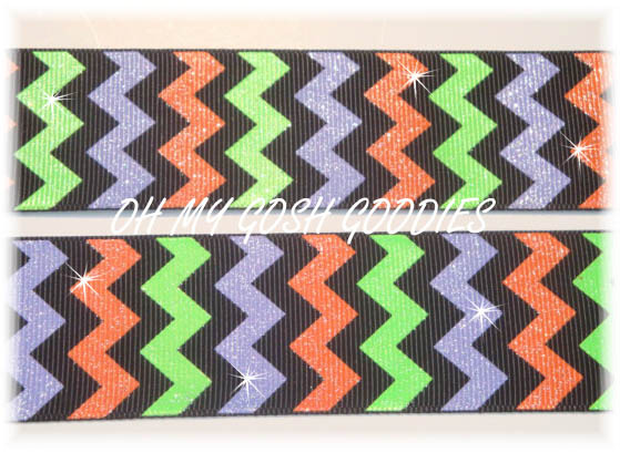1.5 OOAK HALLOWEEN CHEVRON GLITTER - 3 YARDS
